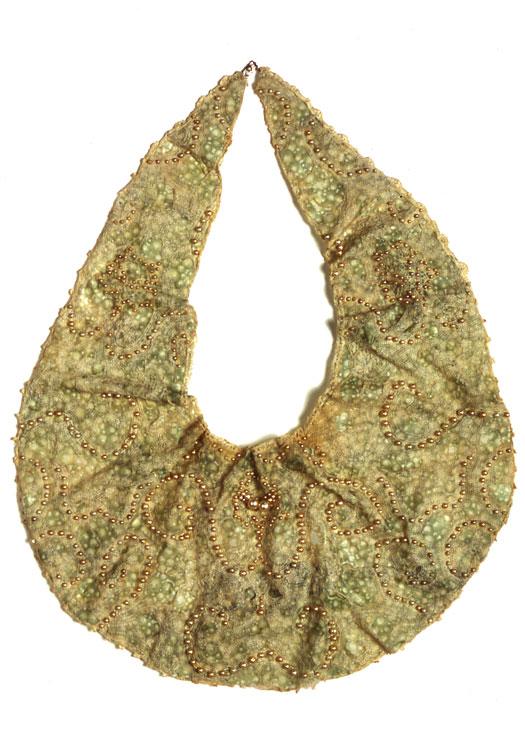 Bijoux  antique textile, digital transfers, pigment, beads  2002