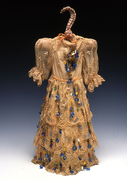 Eyelet  antique textile, dyed, pigment, beads, safety pins  2002