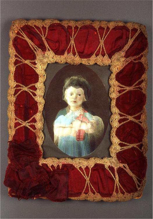 Dolly/Girl  antique textile, digital print, pigment  2002