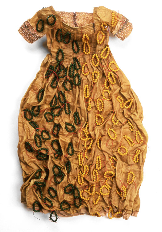 50/50  antique textile, dyed, pigment, beads  2002