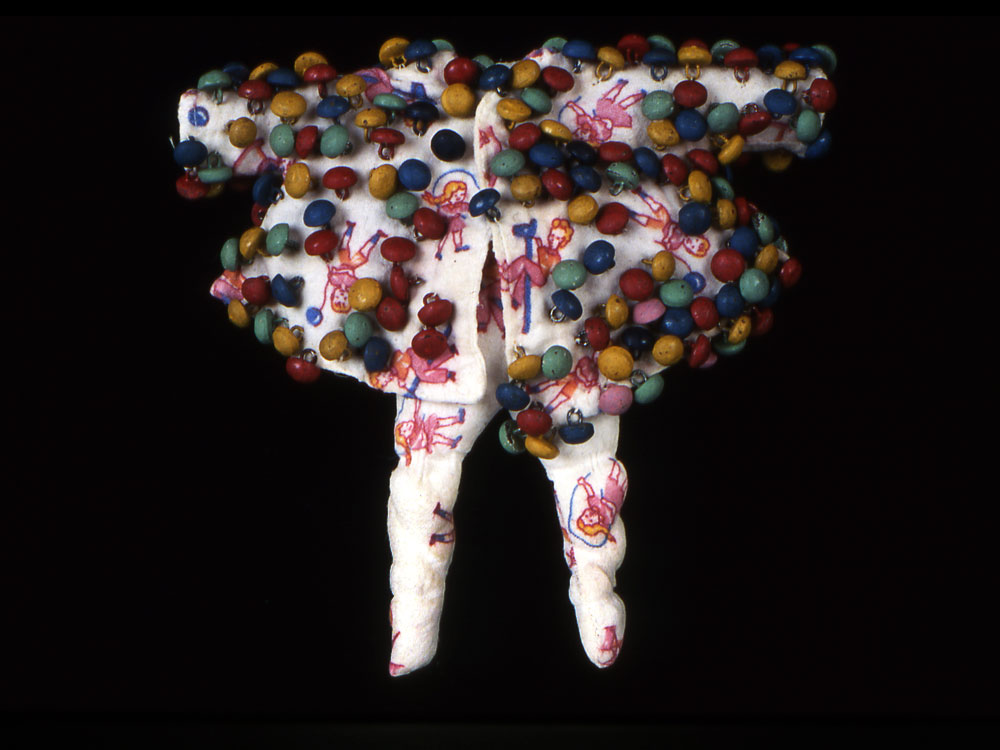 Twee  vintage textiles and buttons, pigment  1999