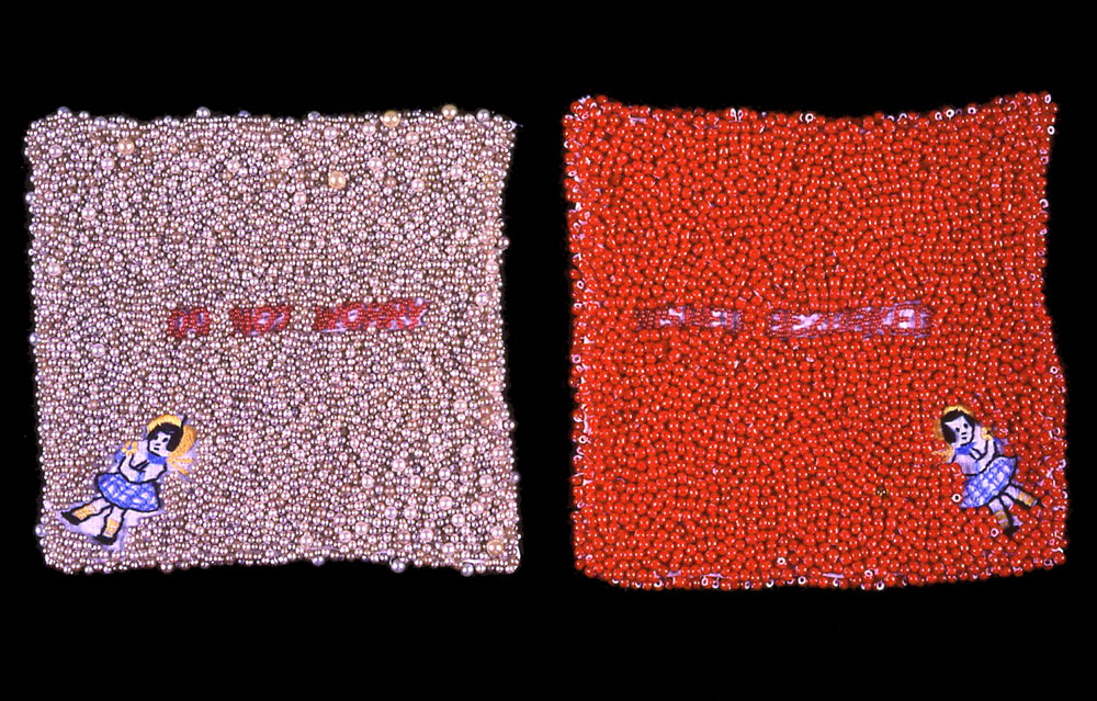 Worry Hankies (Do Not Worry/Nished Gezorked)  vintage textiles, beads  1996