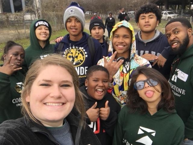 Sydney with students and staff at the mlk parade