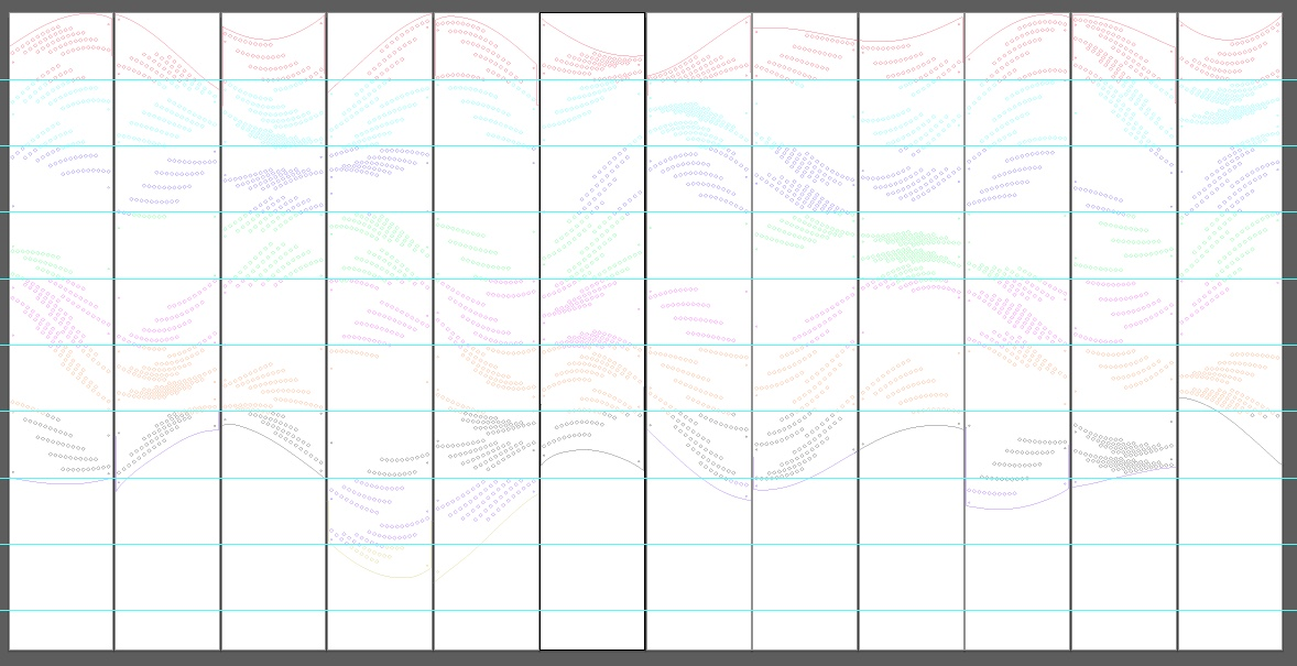 """Adding guides every 10"""" and recoloring each section of cuts between them"""