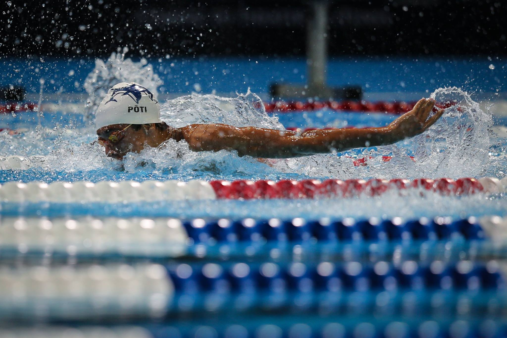 Then Oviedo High School swimmer Zach Poti (Blue Dolfins) swimming at the 2016 U.S. Olympic Trials in Omaha. Photo by Michael C. Lyn for Florida Swim Network.