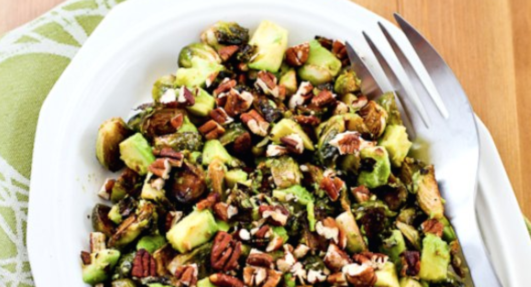 Roasted Brussels Sprouts with Avocado & Pecans -