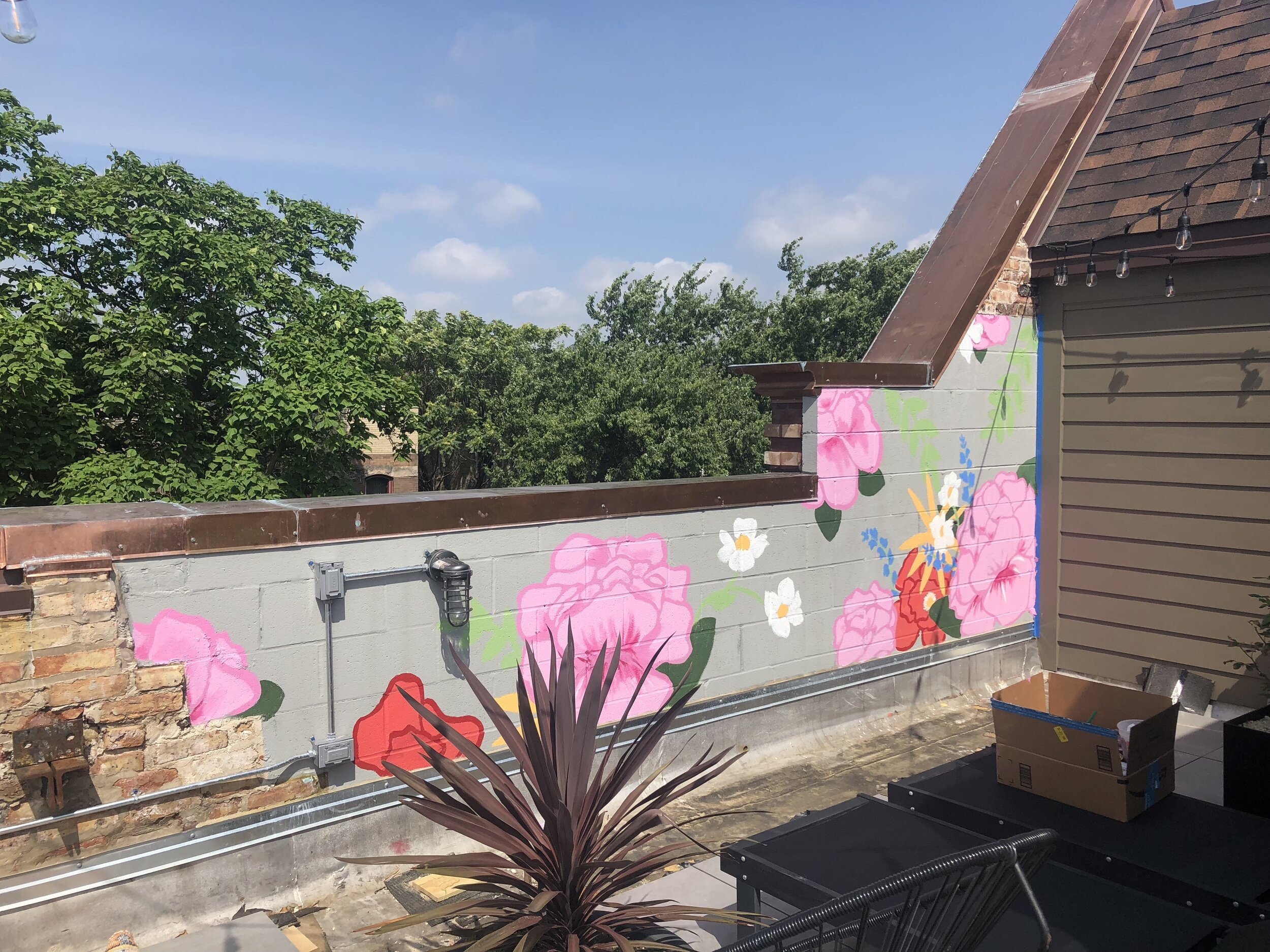 Rooftop Floral Mural
