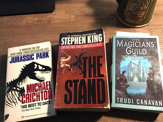 Nothing like a good bookstore run. Something I know I like. Something I'm pretty sure I'll like. Something I don't know yet. . . . #books #storytelling #story #mckaysbookstore #holdontoyourbutts #reading #amreading #jurassicpark #thestand #themagiciansguild