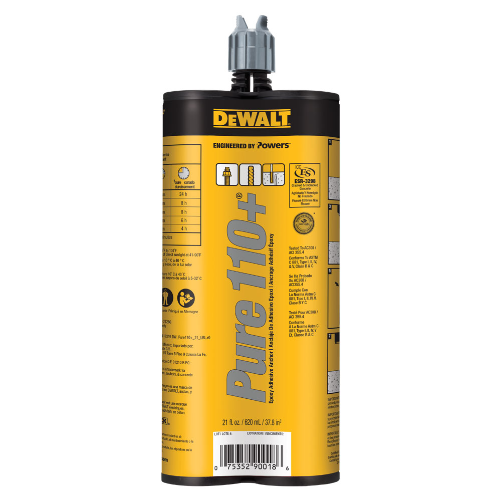 DeWALT PURE110+® Epoxy Injection Adhesive Anchoring System