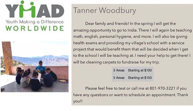 Help Tanner get to India and support YMAD! #ymadindia