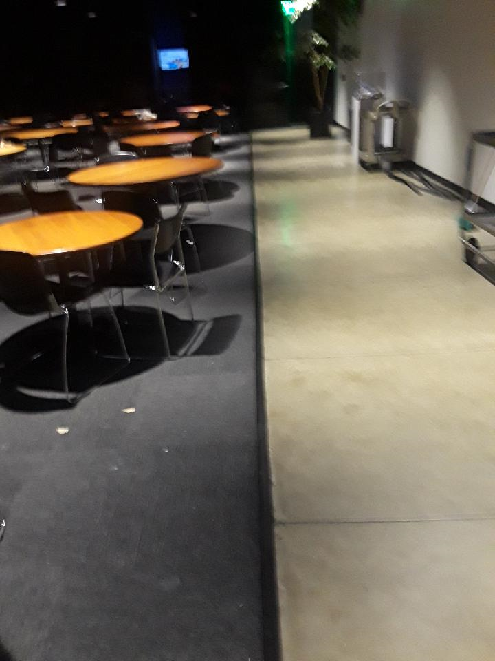 Commercial dining room for school in Pasadena, CA. Flooring project to upgrade the carpet and transitions. ADA compliant.