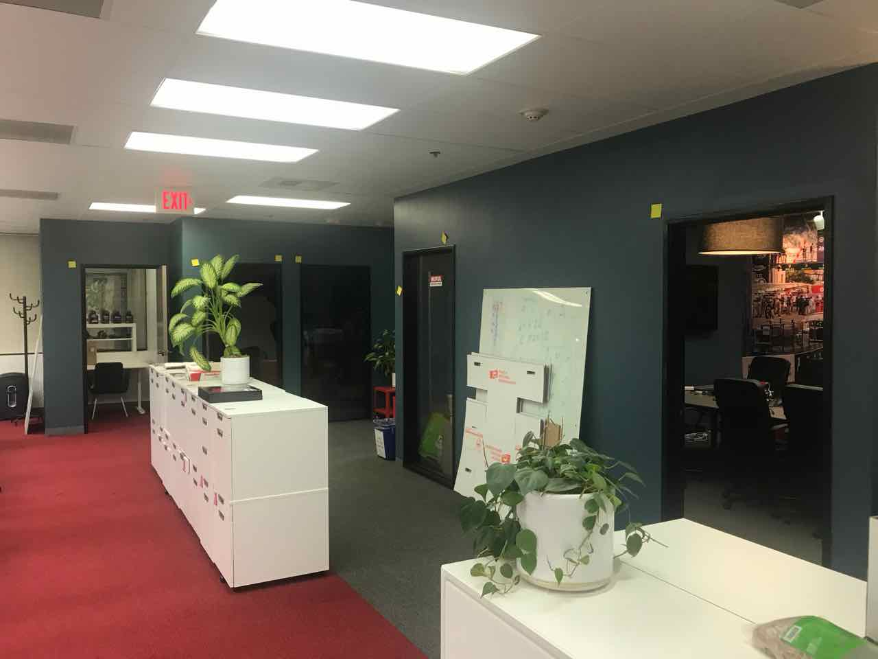 Office redesign and remodel, including new conference rooms, new lighting, new ceiling, new doors, new carpet and finishes.