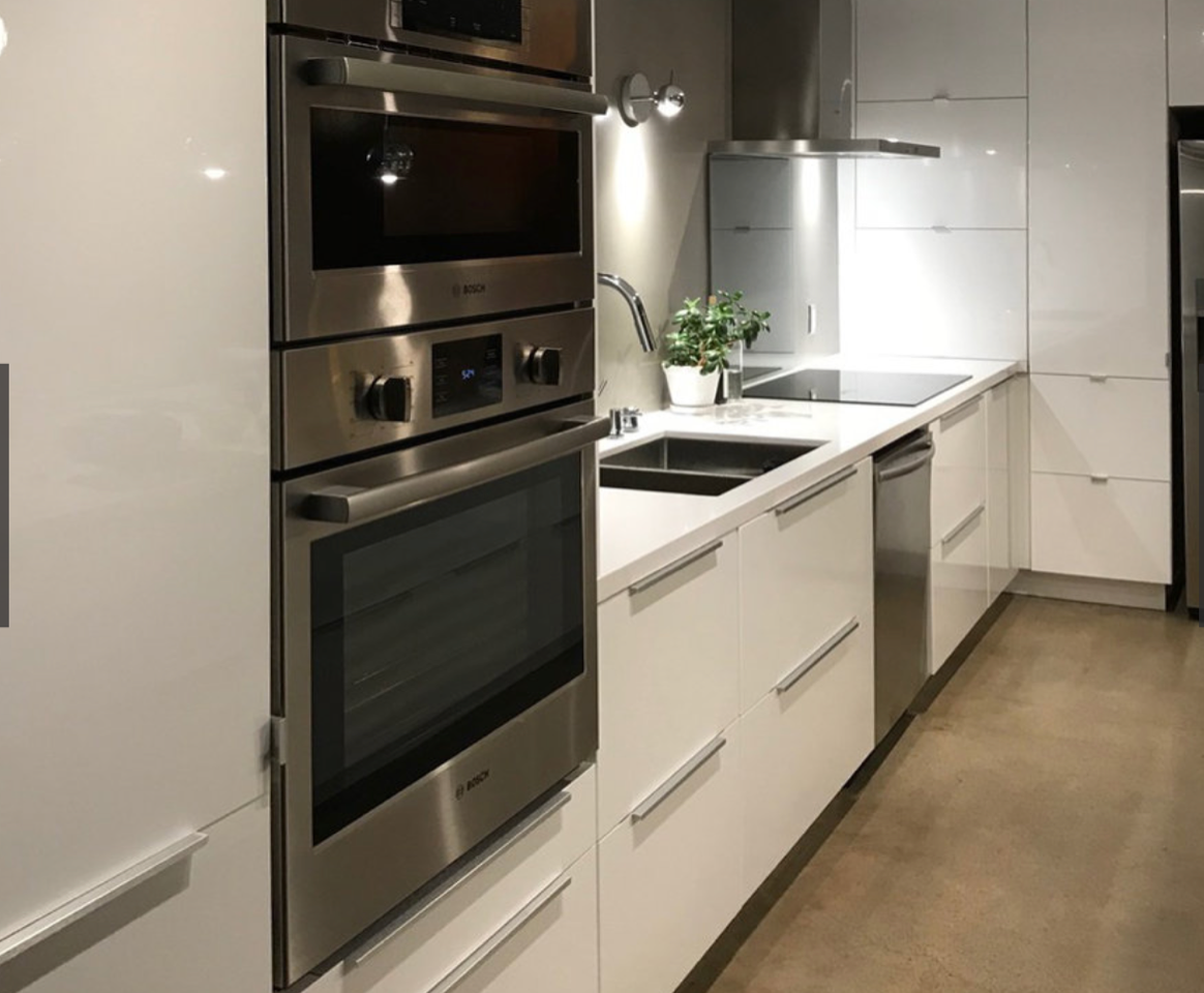 Residential kitchen in Thousand Oaks, CA. Upgraded electrical, plumbing, countertops, flooring. Mid modern century home with contemporary kitchen.