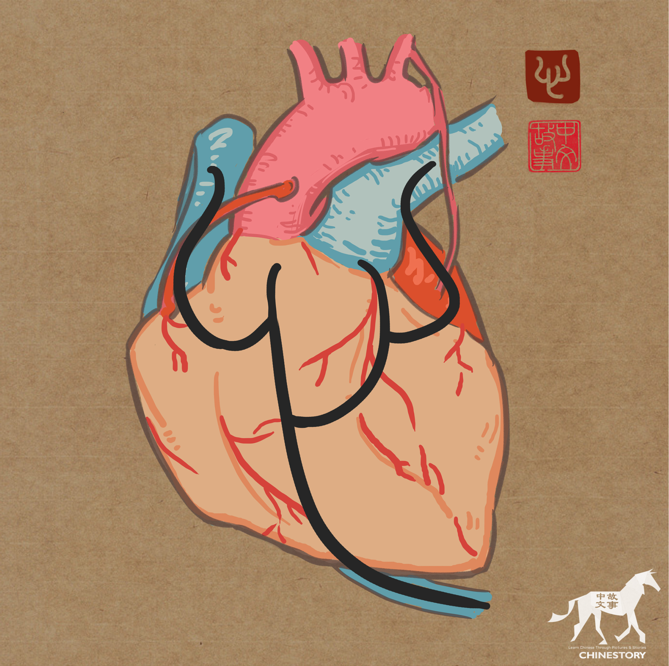 ⼼(xīn) - to devote one's heart(⼼)