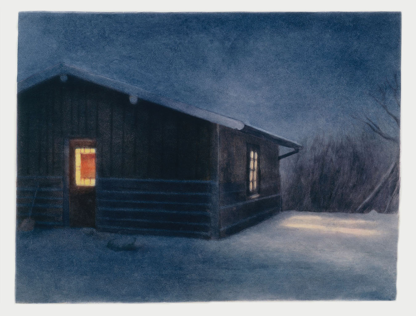Cold Night Wyoming  2003 monotype 18 x 25 in.