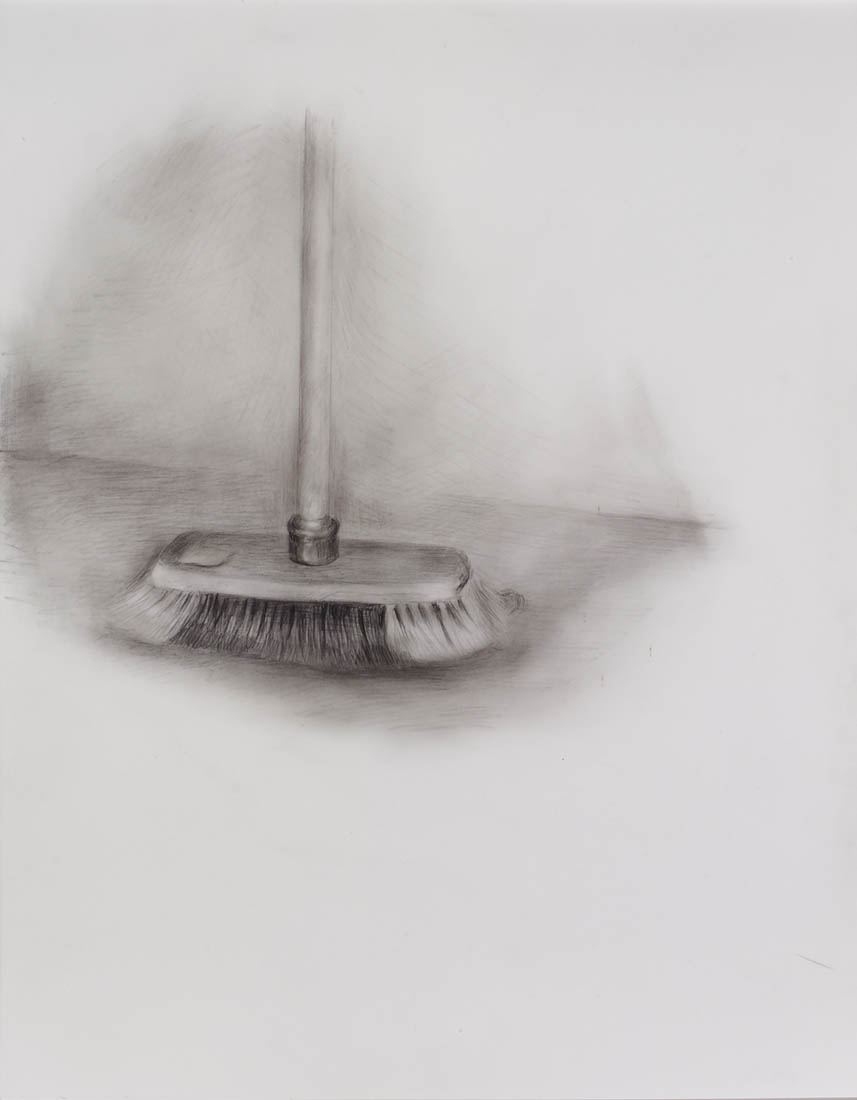 Broom 2016 graphite on polyester 14 x 11 in.