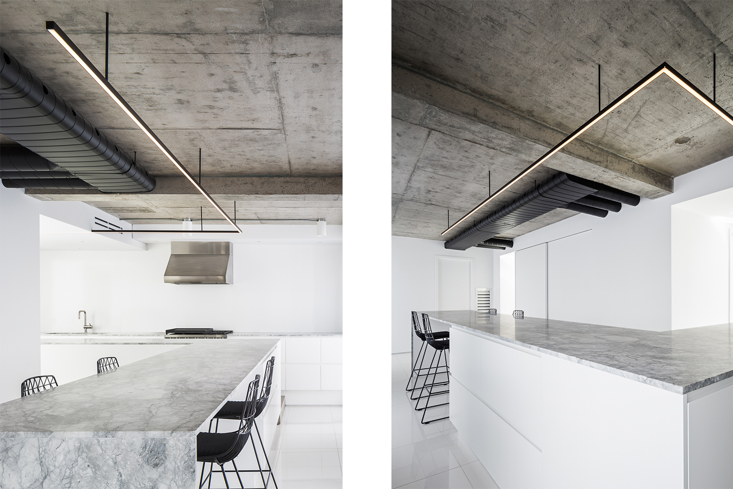 "L-shaped kitchen with very large statuario marble countertop ¾ ""honed finish. Section with black Lucy stools from Bend Goods. Kitchen Cabinets Finished Satin White Lacquer and Concrete Ceiling"