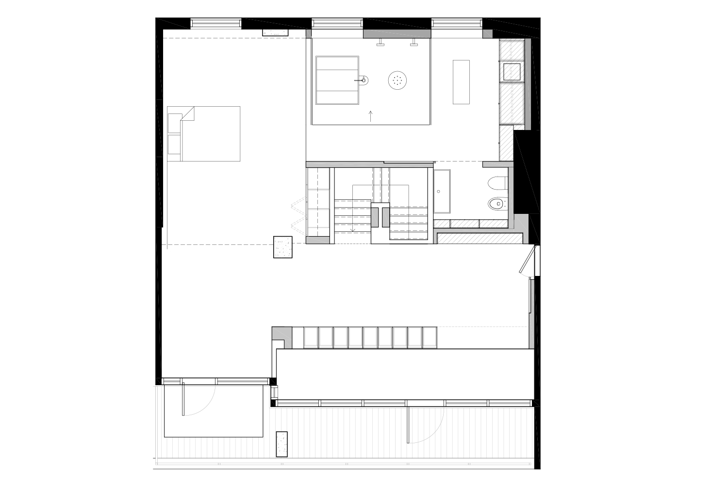 Layout plan for a 2-storey loft in Old Montreal by interior designers at La Firme