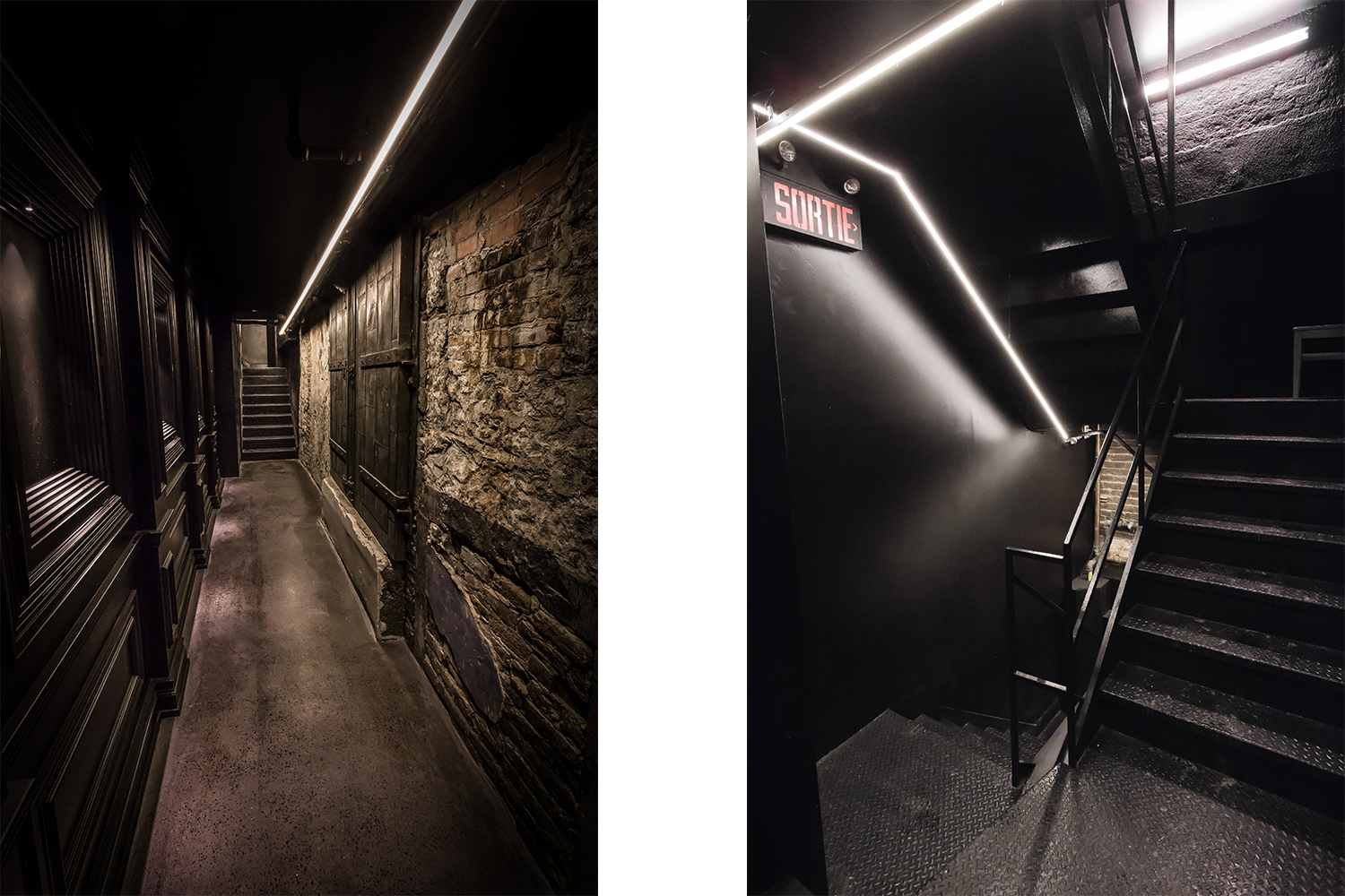 "Entrance ""secret"" leading to the basement, modern and classic. Lustrous black paint on molded walls in front of the stone wall incorporating an original door. A linear luminaire indicates the path"