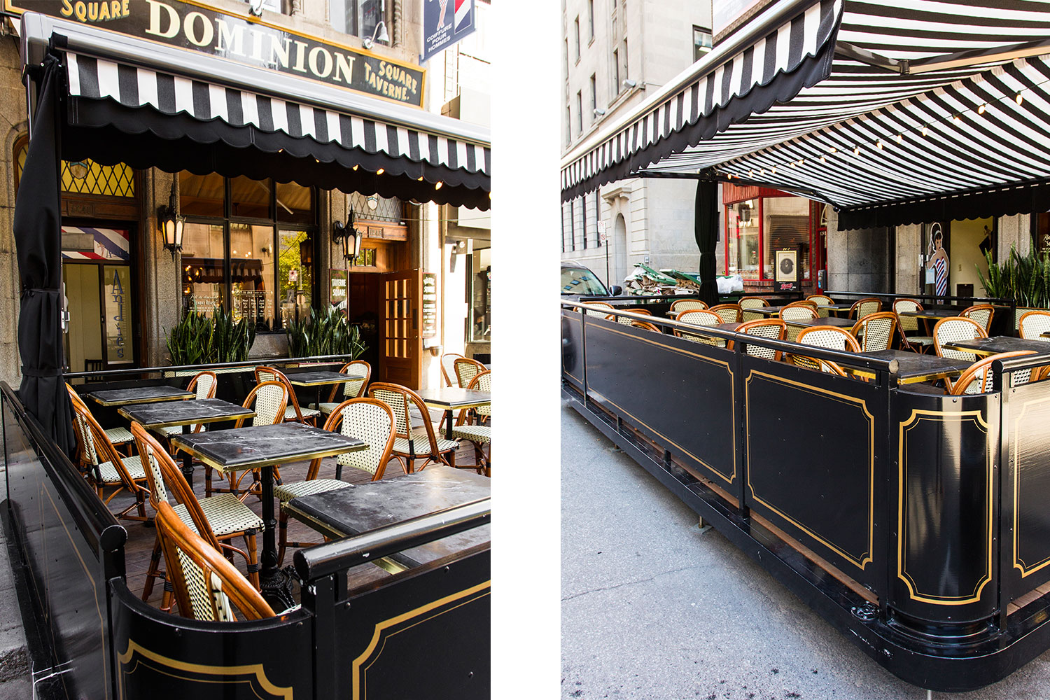 Outdoor terrace of a restaurant in downtown Montreal. Awning in white and black canvas. Black marble table with Parisian bistro chair. Art Deco hand-painted gold moldings