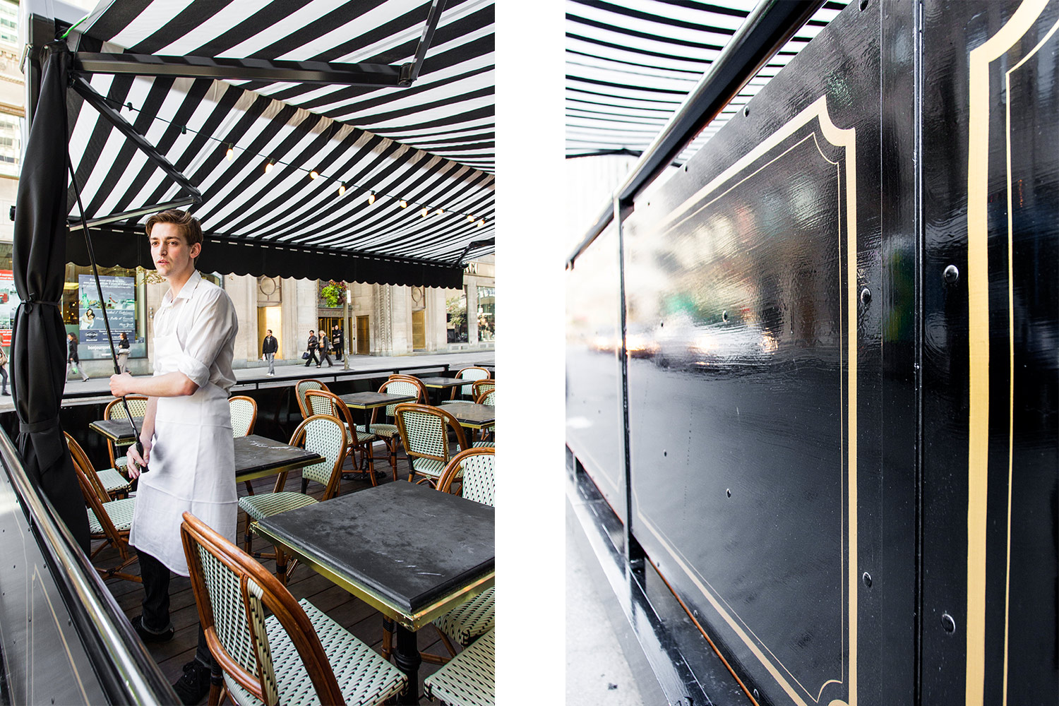 View of the awning in white and black canvas and black marble tables with bistro chairs in the Parisian style. Art Deco gilded moldings painted by hand.