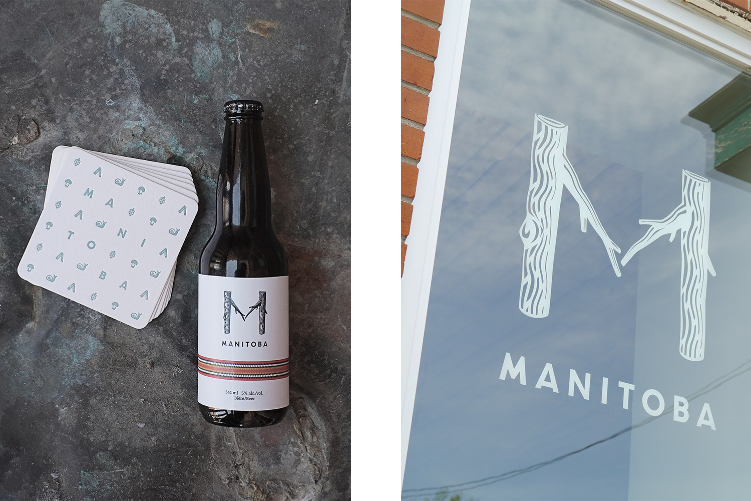 Beer bottle with white label drawn by graphic designer. White square coaster with pale green print. Vinyl print of the restaurant logo, composition of 2 branches forming an M.