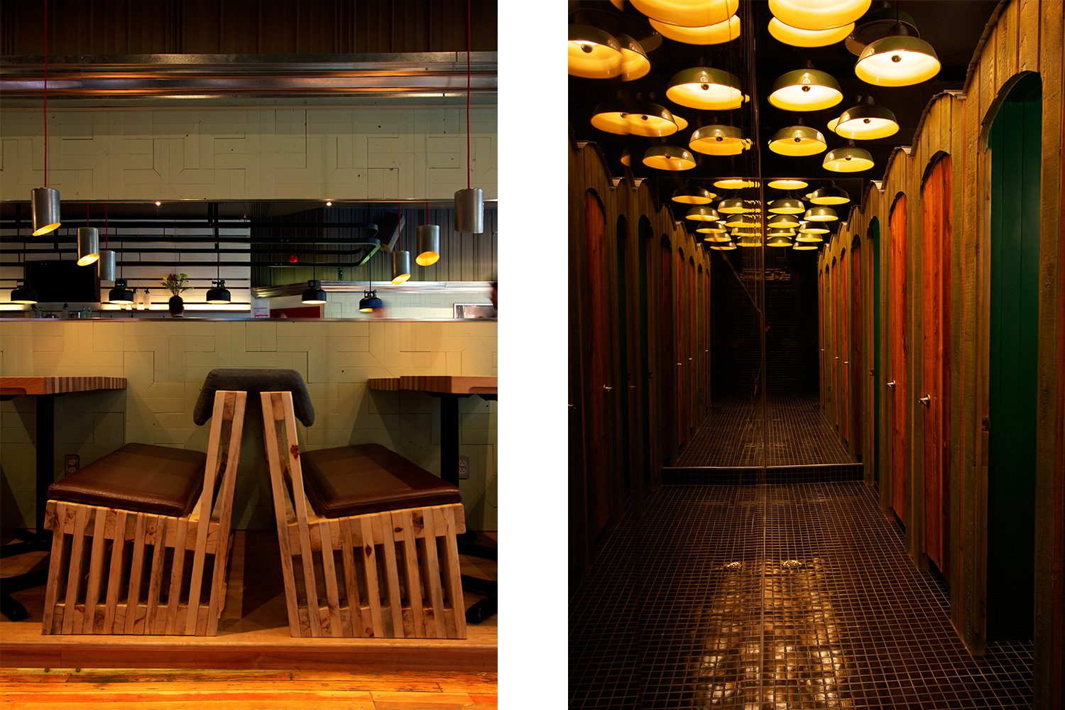 Detail of the profile of the bench made of raw wood slats with leather seat. View of the hallway of the toilet with large mirror and wooden doors. Mosaic floor and industrial lamps