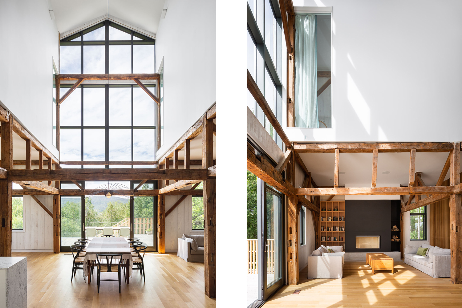 Dining room of a chalet with cathedral ceiling and large windows. Old wooden structure apparent. Black steel fireplace mantel on concrete base. White oak floor
