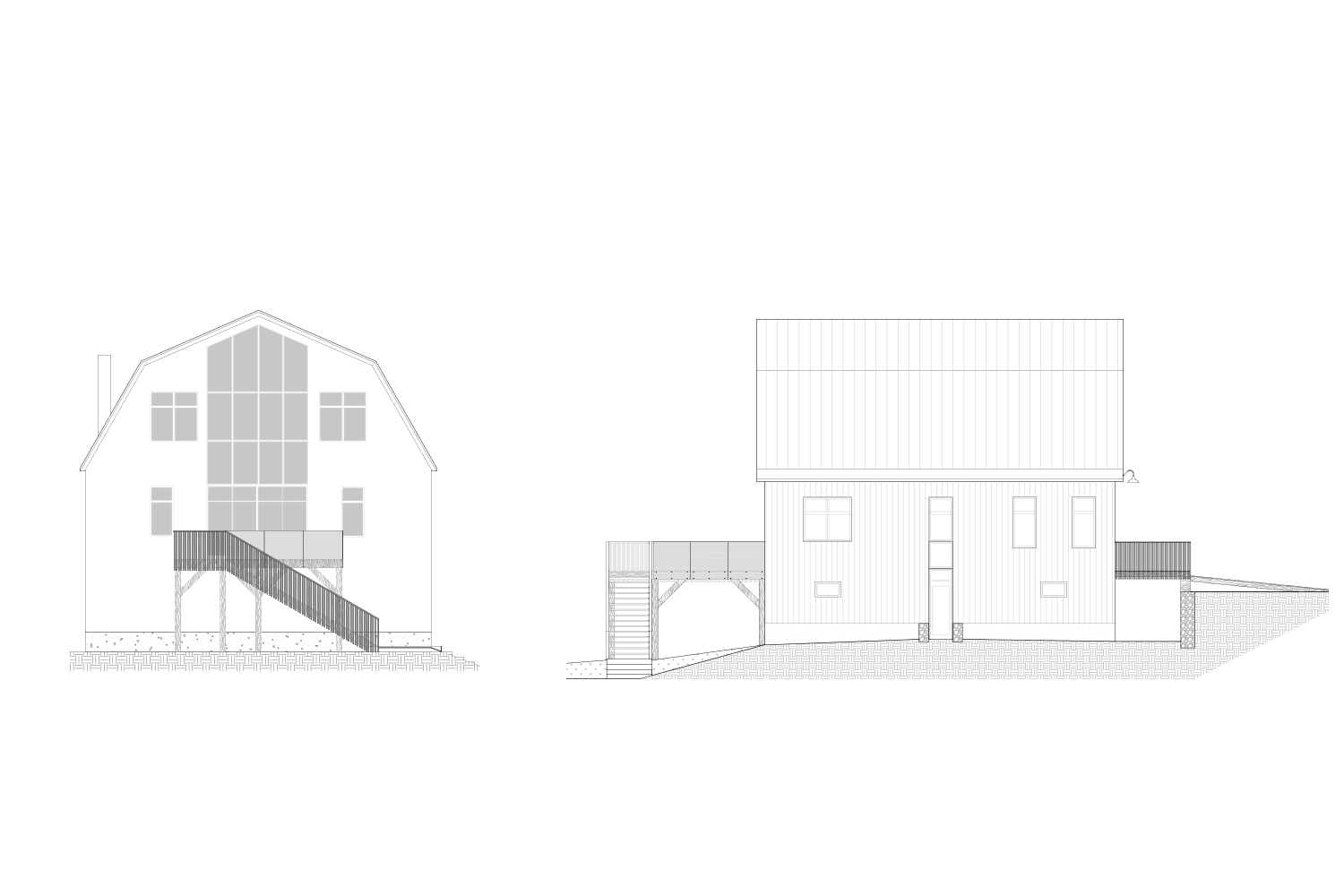 Exterior elevations of the cottage