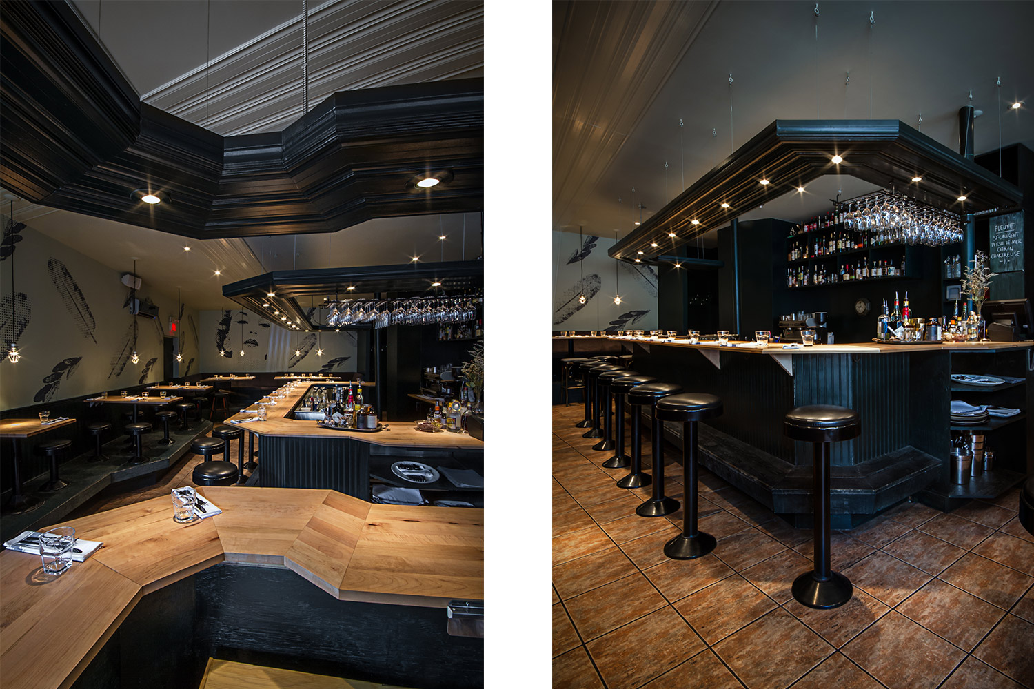 View of maple finished bar and vertical dark green paneling. Glossy finished decorative moldings suspended over the counter with integrated lighting. Mural with pixelated pattern in the background.