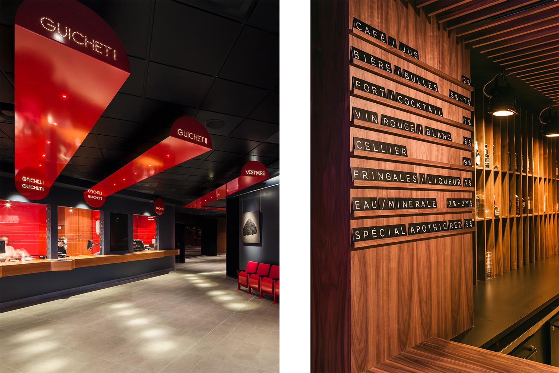 Kiosque d'achat d'une salle de spectacle avec signalétique en métal peint rouge suspendue avec inscription lumineuse. Menu bar en noyer avec lettres individuelles découpées au laser