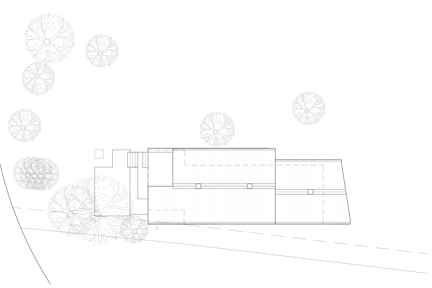 Technical plan for setting up a chalet on its black and white field. Drawings made by interior designers of La Firme
