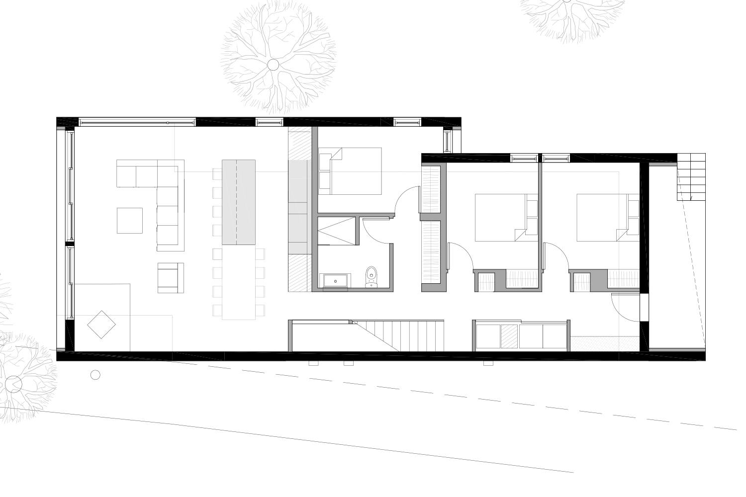 Plan of development of the ground floor of a chalet in black and white. Drawings made by interior designers of La Firme