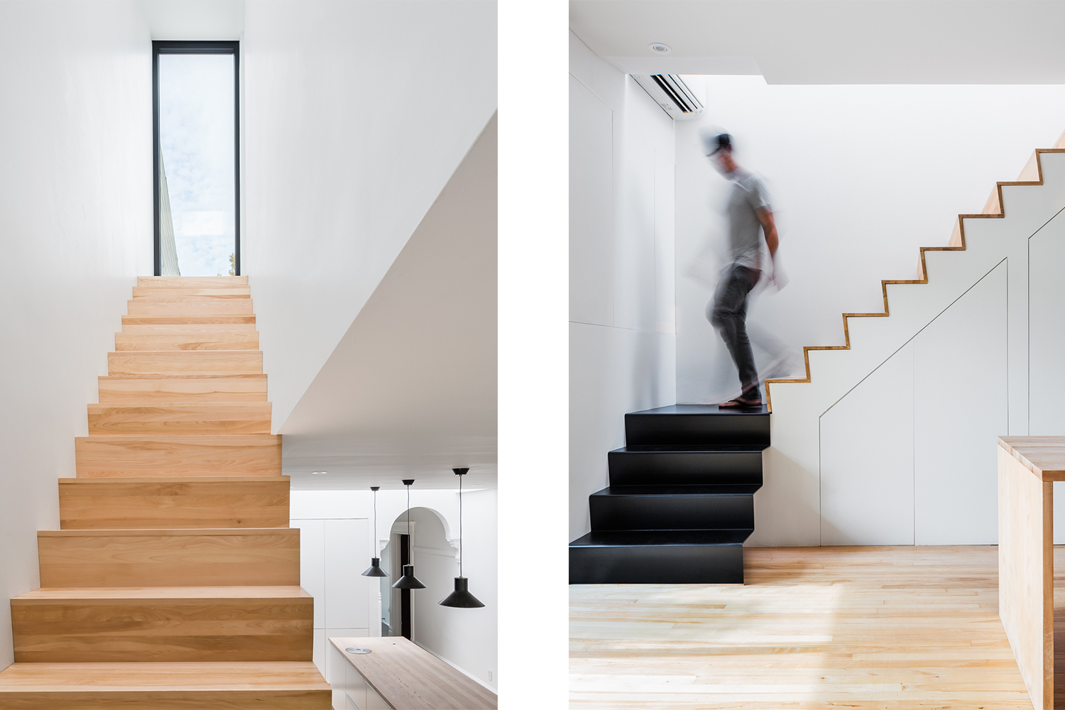 New staircase, a section with steps and risers in wood: cherry. And the other section of 4 steps made in black metal folding. A large window aligned with the staircase