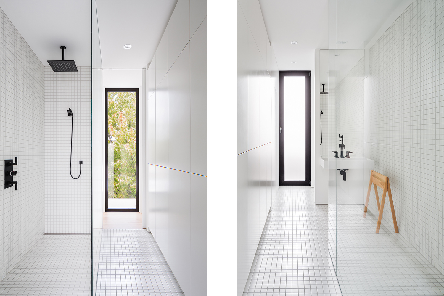New shower with linear drain (Italian shower type) with wall and 2x2 white mosaic floor. Black taps, ceiling shower head. Built-in storage wall. Natural light