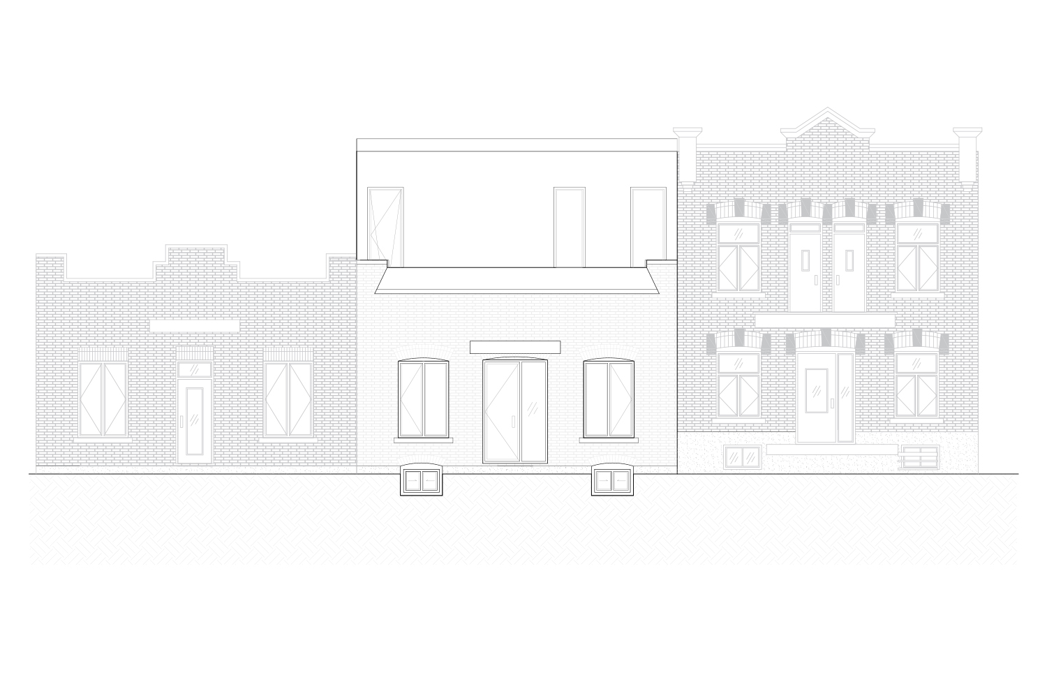 Exterior elevations of the front façade of a single-family home with the addition of a mezzanine. Black and white plane. Drawings made by interior designers of La Firme