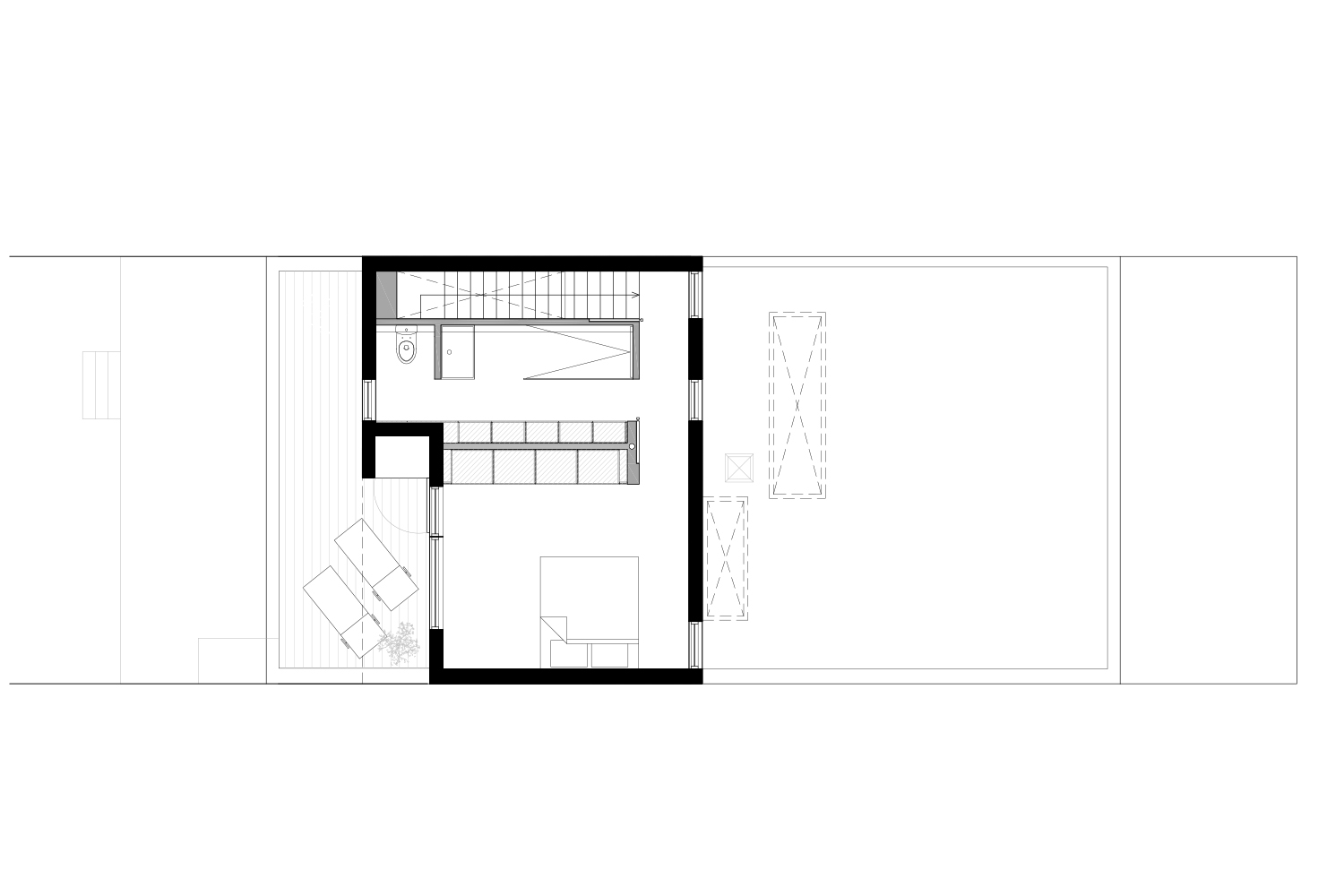 Plan of development of the floor of a single-family house with addition of a mezzanine. Black and white plane. Drawings made by interior designers of La Firme