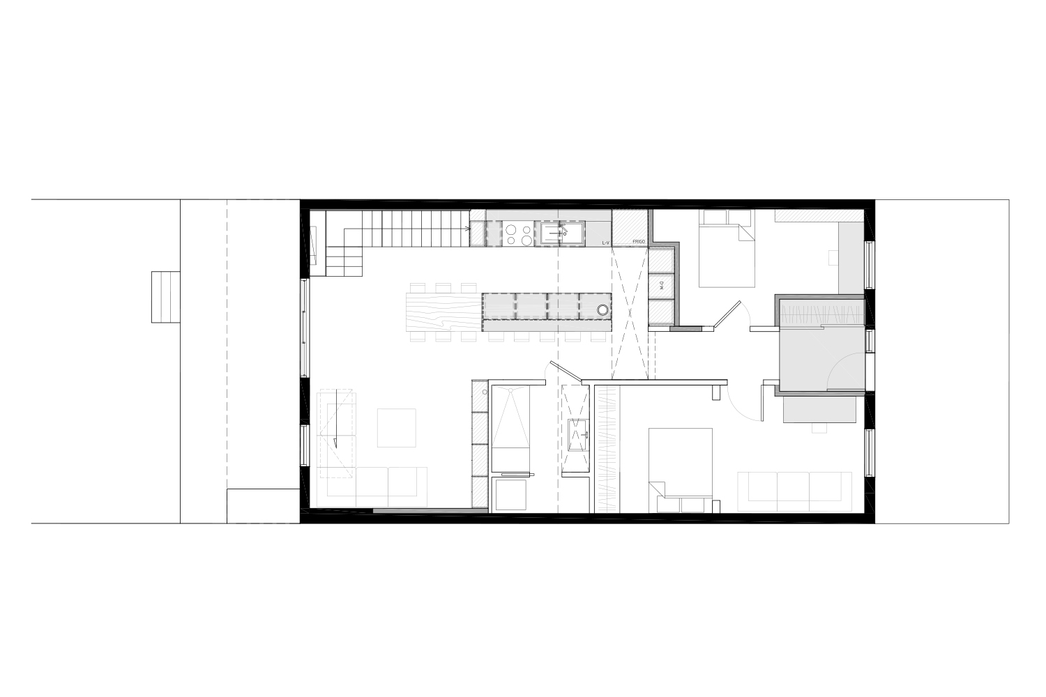 Development plan of the ground floor of a single family home with addition of a mezzanine. Black and white plane. Drawings made by interior designers of La Firme