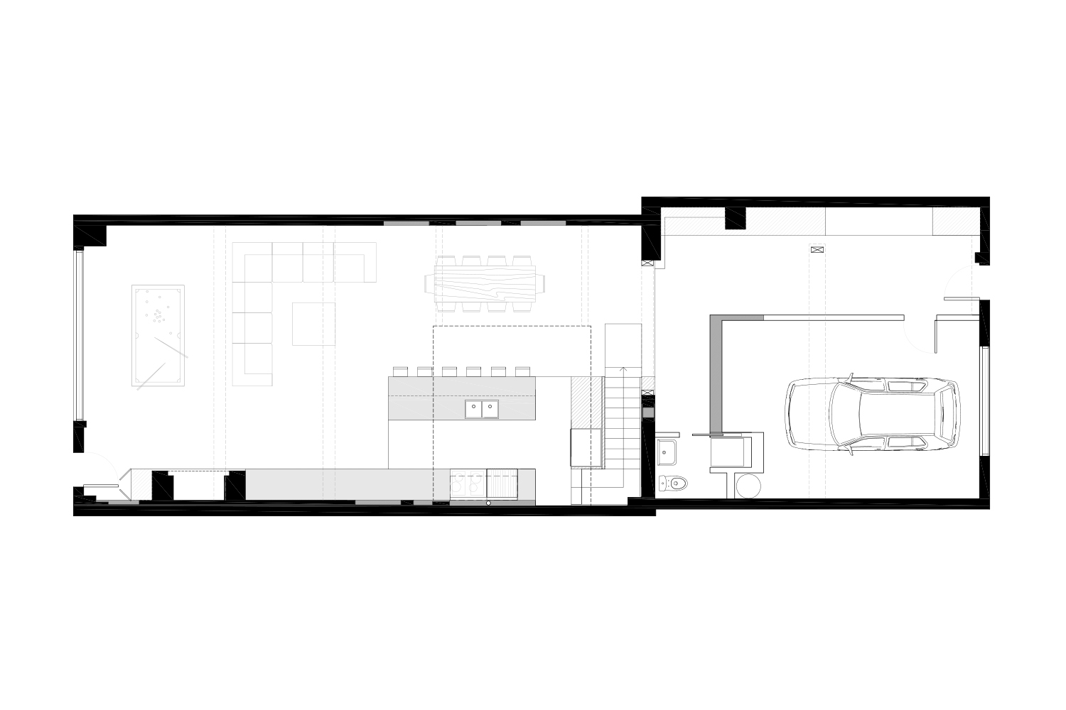 Development plan of the ground floor of a single family home. Black and white plane. Drawings made by interior designers of La Firme