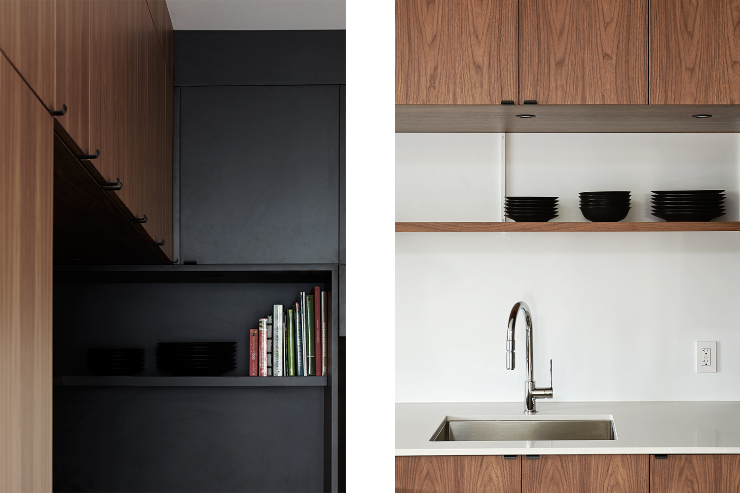 Detail of white quartz countertop with backsplash made of white painted steel. Shelf and wall cabinets in walnut. Other detail of the junction of a black shelf and wooden kitchen cabinets