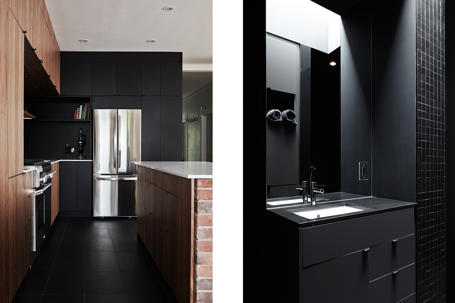 View of the kitchen island finished in walnut with quartz countertop, leaning on a small red brick wall. Another view of the bathroom made of black mosaics with black vanity and skylights