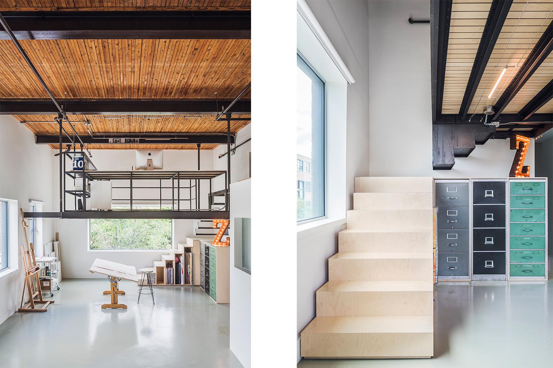Réaménagement d'un loft d'artiste avec ajout d'une mezzanine. Structure d'acier suspendue. 2 sections de marches faites sur mesure, l'une en contreplaqué merisier et l'autre en acier roulé à chaud
