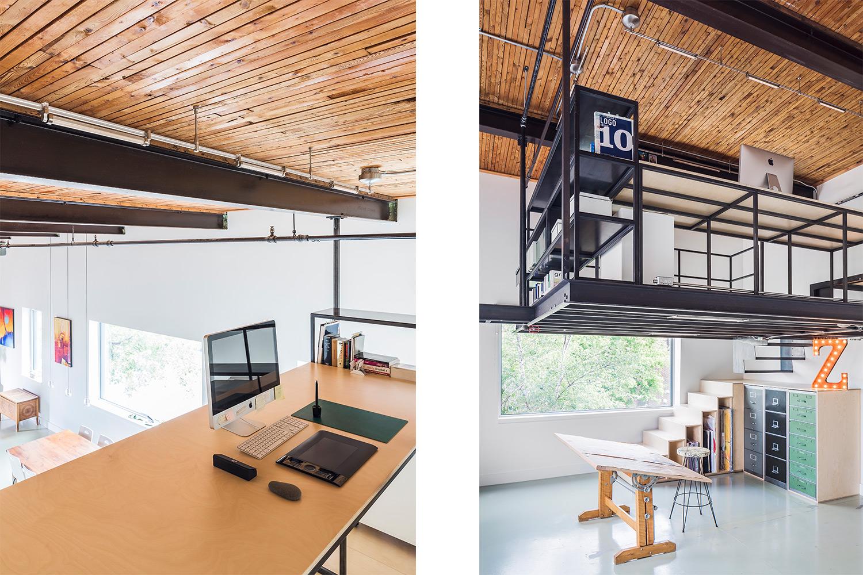 Vue de la nouvelle mezzanine. Structure d'acier suspendue au plafond. Bureau fait de tube d'acier noir, garde-corps en tubulaire d'acier.