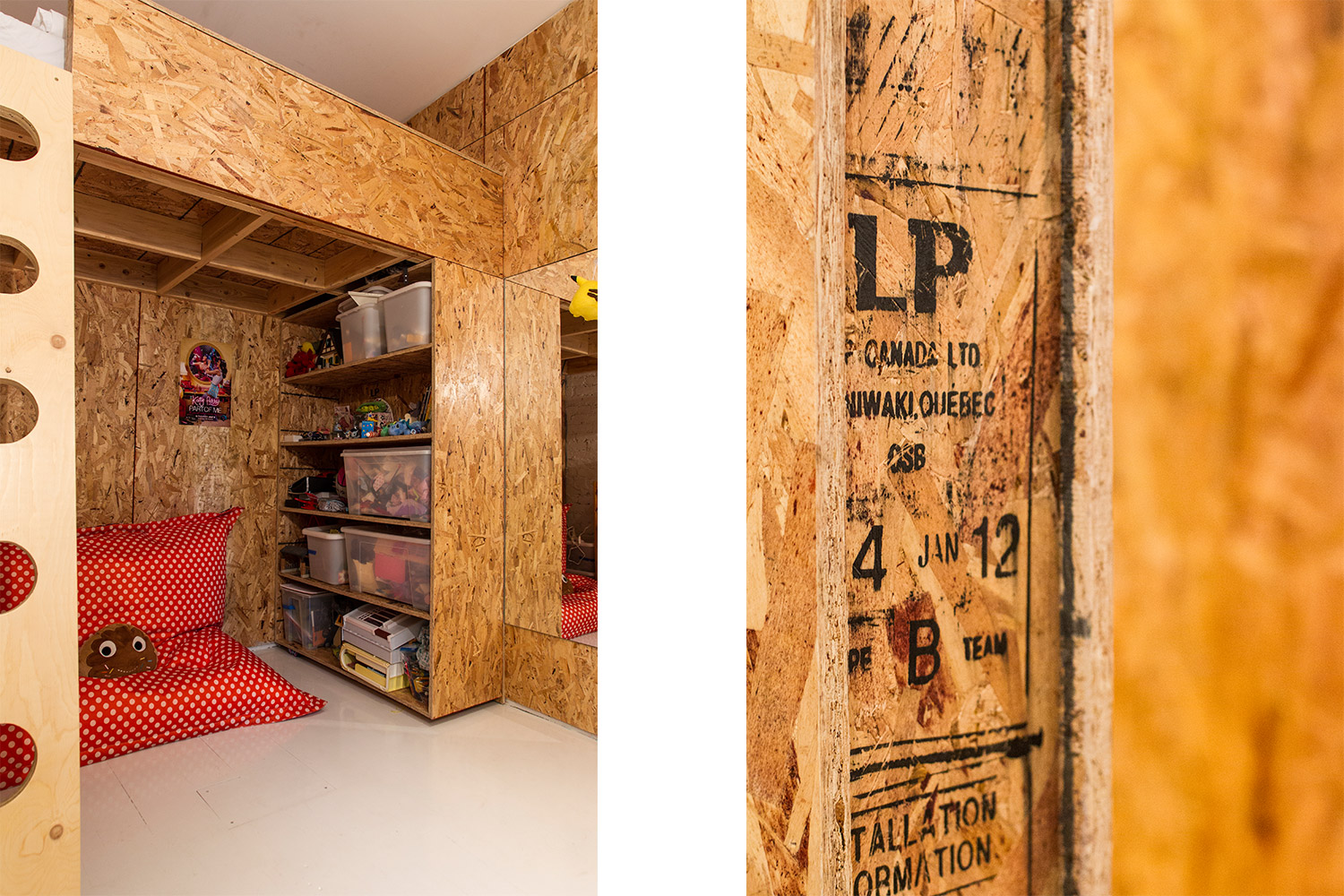 Renovation of an apartment on the plateau. Children's room with loft bed. Custom scale. Walls and custom furniture made of chipboard (OSB). White painted floor