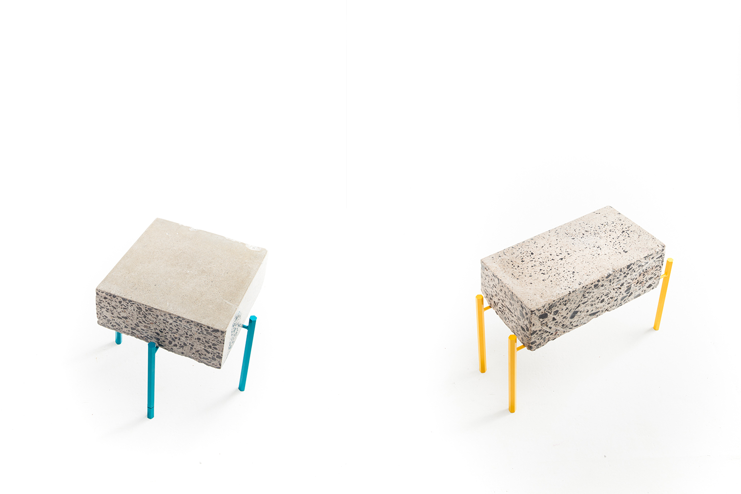 Small coffee table made of recycled concrete scrap. Metal frame made to measure, light and bright color. Legs made of hexagonal yellow or turquoise metal rods.