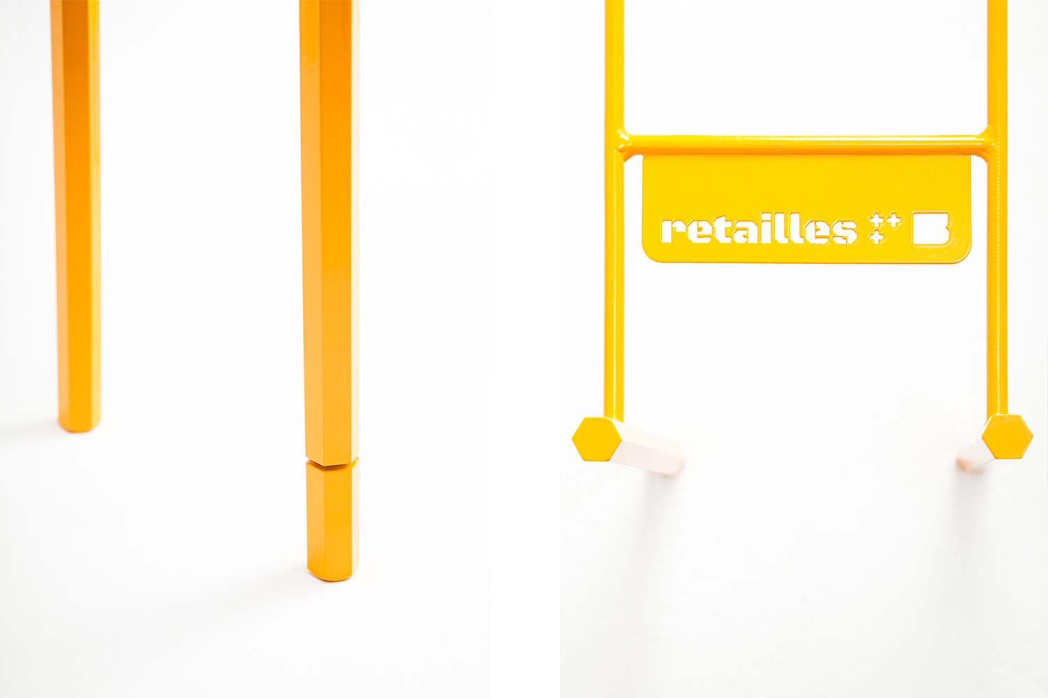 Minimalist detail of the base of the coffee tables Retailles, yellow color.