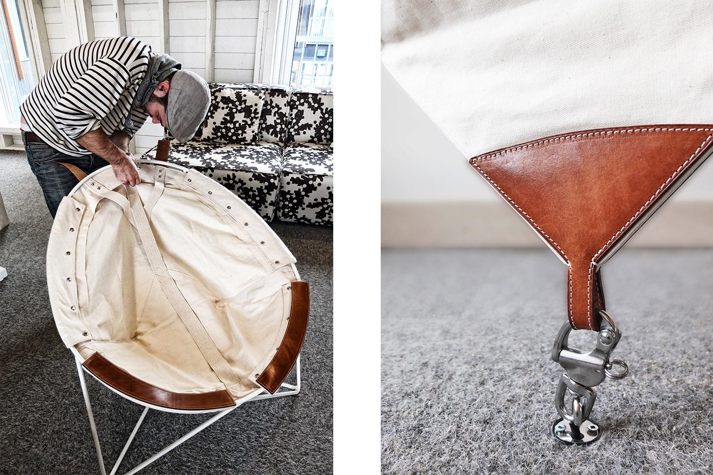 Vue du concepteur qui installe la toile sur la structure de la chaise. Détail de l'attache au plancher pour la chaise suspendue.
