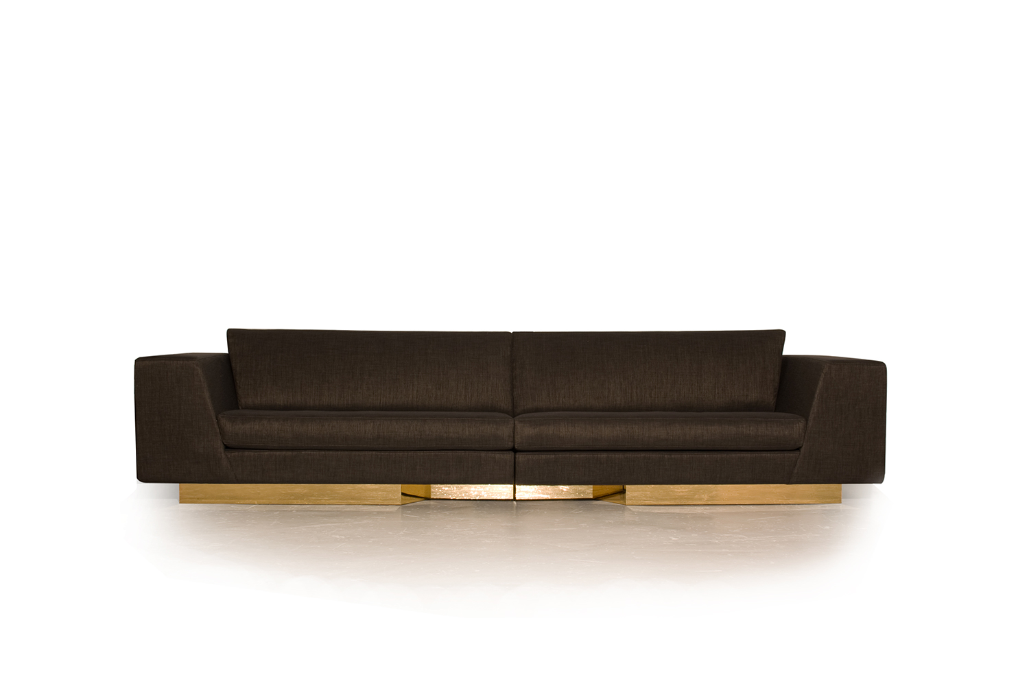 Front view of the Modular Sofa, adjustable in 5 places. Recessed base in gold-plated metal veneer, Italian fabric from Kvadrat with gold thread.