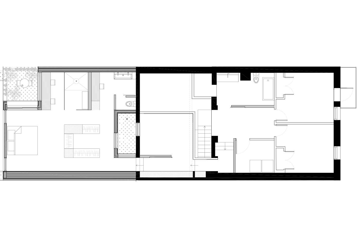 Layout plan of the floor of a single-family house. Black and white plane. Drawings made by interior designers of La Firme