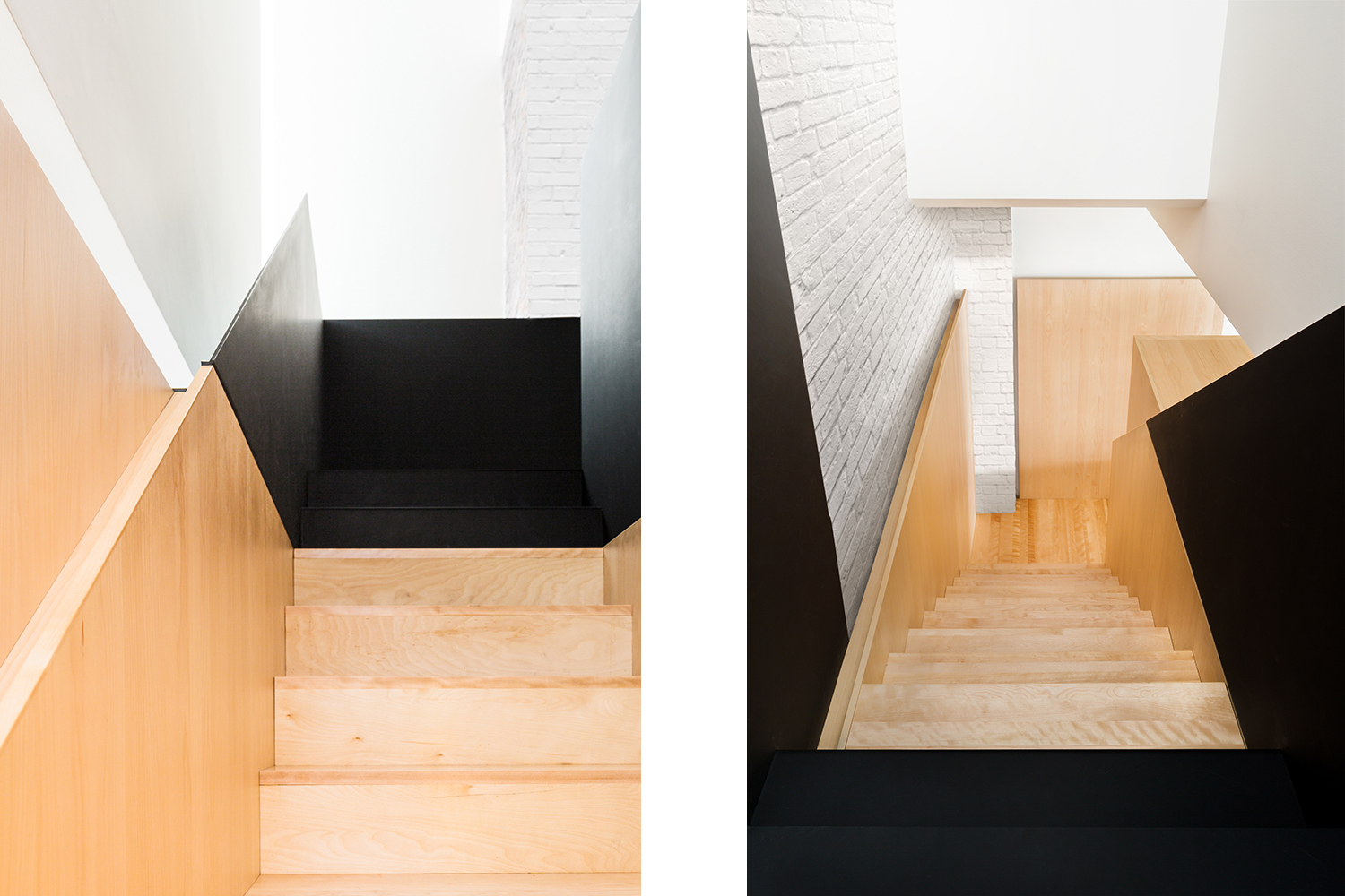 Renovation of kitchen. Storage block under the stairs. Built-in refrigerator. Island with bar height counter in white quartz. Another view of the railing of the black metal staircase